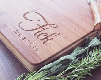 Custom Cutting Board, Personalized Butcher Block for Wedding Gift, Engagement Gift, Anniversary or Housewarming Gift