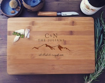 Custom Butcher Block / Personalized Cutting Board with Mountains & Initials - Wedding Gift, Anniversary Gift, Housewarming Gift