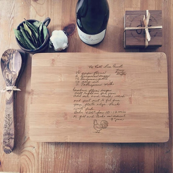 Handwritten Recipe Personalized Cutting Board, Custom Chopping Block, Housewarming Present, Gift for Mom