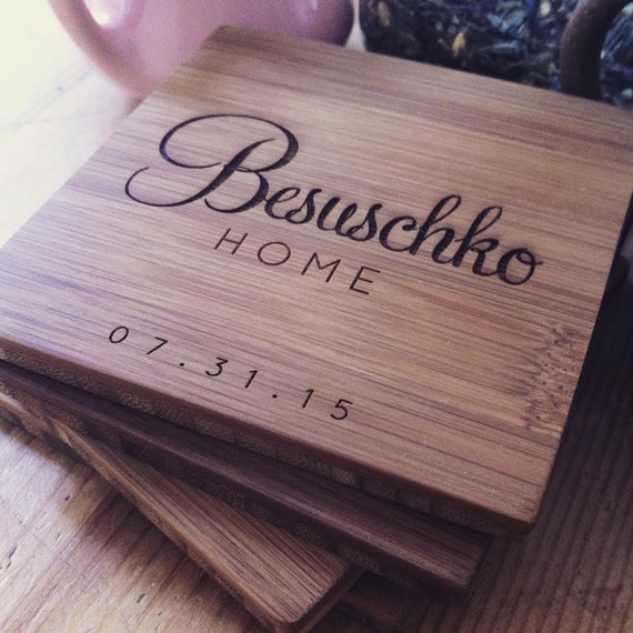 Custom Coasters, Wood Coasters, Engraved Coasters, Personalized Coaster Set for Wedding Gift or Housewarming Present w/ Optional Cork
