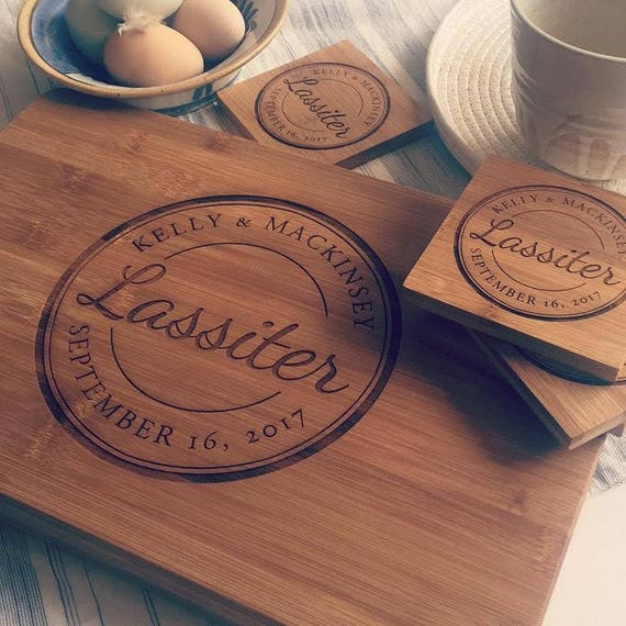 Custom Chopping Block and Engraved Coasters Gift Set, Personalized Cutting Board, Wedding Gift, Wood Anniversary Gift, Engagement Present