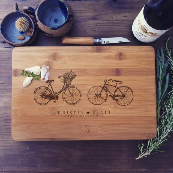 Custom Cutting Board w/ Vintage Bicycles - Wood Butcher Block for Wedding Gift, Engagement Present, or Housewarming Gift, Couple Gifts
