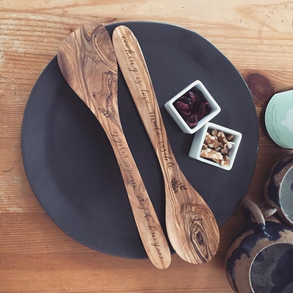 Personalized Spoon Set Spoon and Spatula Set Wooden Spoon Wooden Spatula Custom Wood Spoon Wedding Gift Engagement Gift Housewarming Gift