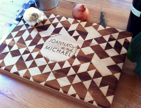 Custom Engraved Cutting Board, Personalized Chopping Block, Geometric Pattern, Triangle Pattern, Engraved Names, Wedding Gift, Engagement