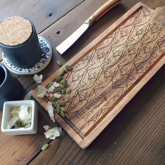 Wood Tapas Board, Engraved Cheese Board, Custom Charcuterie Board, Acacia Paddle Cutting Board with Optional Personalization