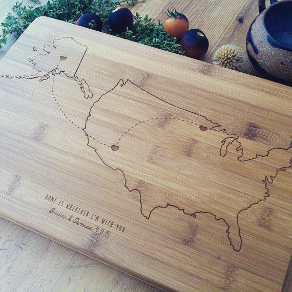Personalized Cutting Board, Custom Engraved Chopping Block, United States Map, Personalized Map, USA Map, Wedding Gift, Travel Gift