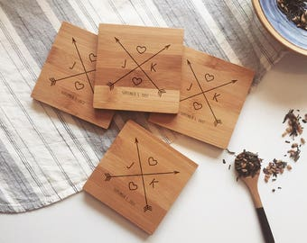 Custom Coasters, Wood Coasters, Engraved Coasters, Personalized Coaster Set for Wedding Gift or Engagement Present