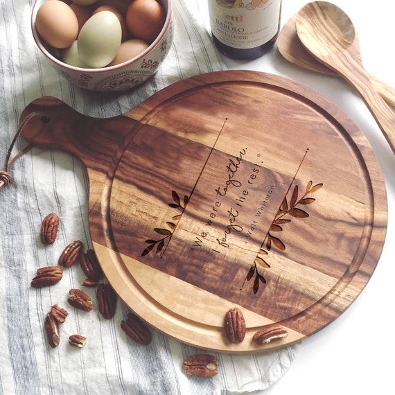 Personalized Charcuterie Board, Customized Paddle Cutting Board w/ Quote, Engraved Wedding Gift, Round Cutting Board, Cheese Board