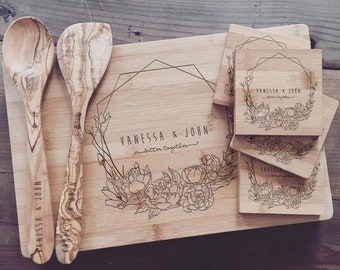 Custom Chopping Board, Personalized Cutting Board Set - Custom Wedding Gift, Engagement Present, Bridal Shower Gift, or Anniversary Gift