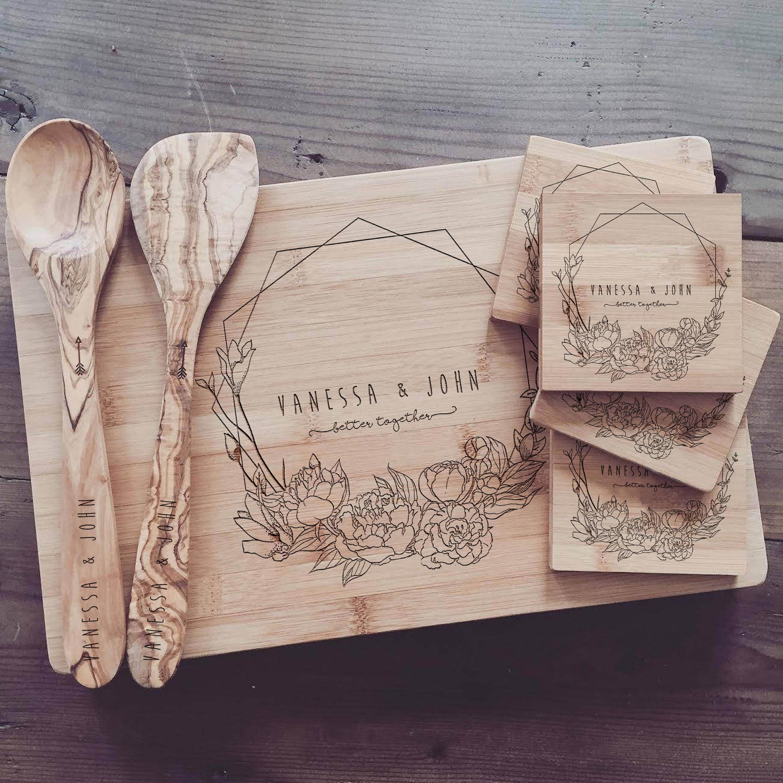 Custom Chopping Board Personalized Cutting Board Set Custom Wedding Gift Engagement Present Bridal Shower Gift Or Anniversary Gift
