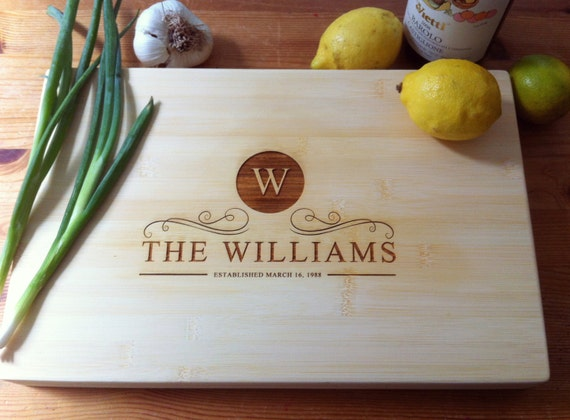 "Personalized Bamboo Cutting Board 15"" x 10"", Custom Engraved Cutting Board: Wedding, Housewarming, Mother's Day, Anniversary"