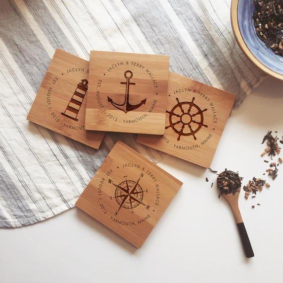 Custom Coasters / Personalized Coaster Set, Nautical Wedding Gift, Custom Coordinates, Engagement Present, or Anniversary Gift Idea