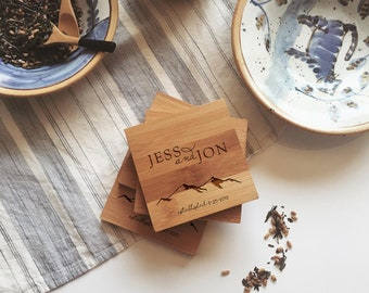 Custom Coasters with Mountains and Your Personalized Text - Engraved Coasters / Wooden Coasters, Bamboo and Cork Coaster Set