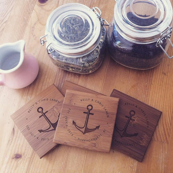 Engraved Coaster Set w/ Nautical Anchor Customized Wedding or Engagement Gift Personalized Coasters w/ Names, Initials, Established Date