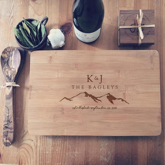 Custom Cutting Board / Wood Butcher Block / Personalized Chopping Board with Mountains & Your Text