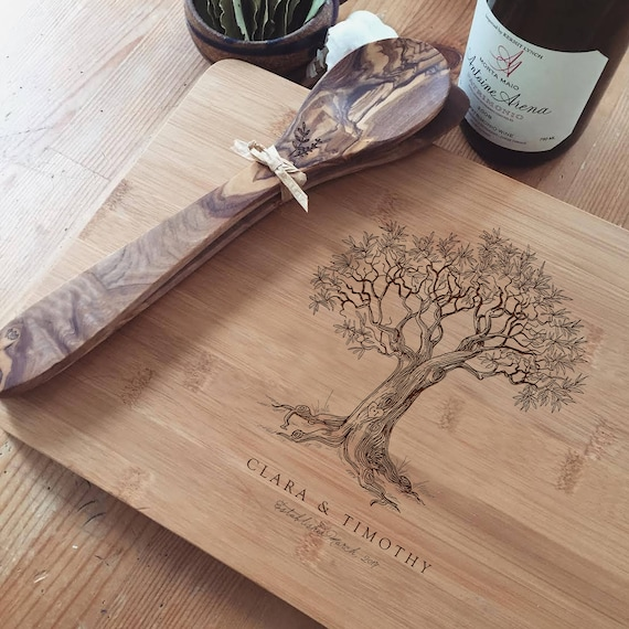 Custom Butcher Block, Tree Cutting Board, Personalized Bamboo Cutting Board for a Unique Wedding Gift or Engagement Present