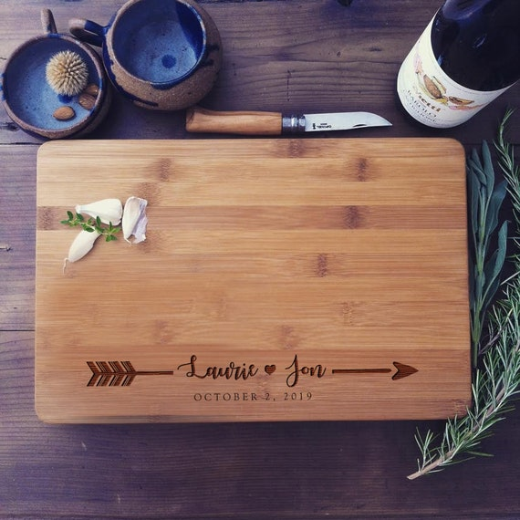 Custom Cutting Board, Personalized Butcher Block / Wood Chopping Board for Wedding Gift, Engagement Present, or Housewarming Gift