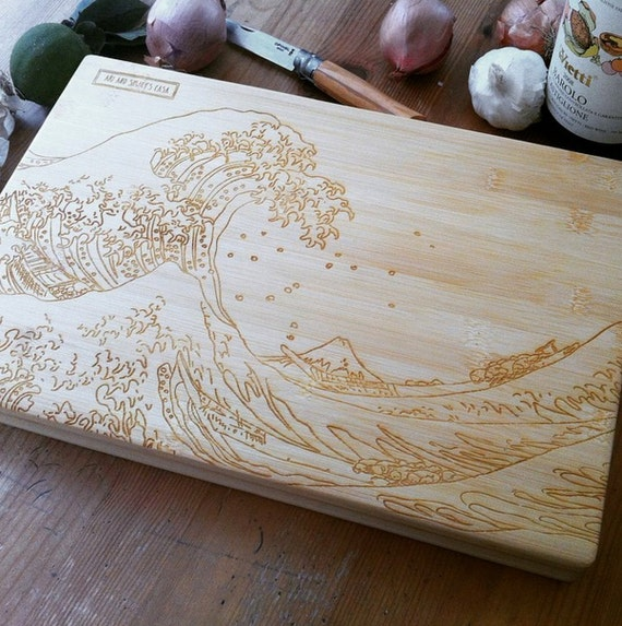 Engraved Chopping Board, Butcher Block Cheese Board Hokusai Great Wave Custom Cutting Board Wood Cutting Board Wedding Gift Christmas Gift