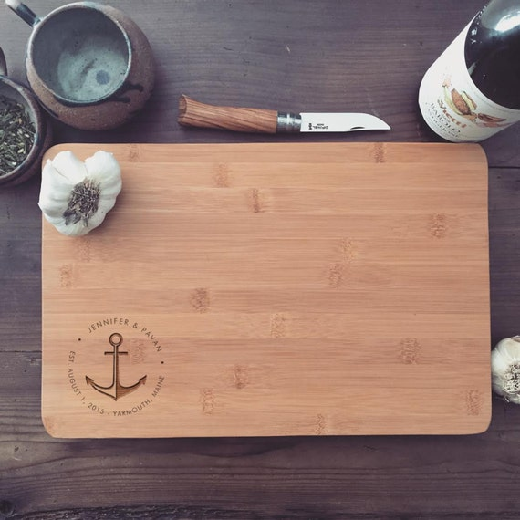 Custom Cutting Board, Personalized Chopping Block, Nautical Gift Idea for Wedding, Housewarming, Anniversary
