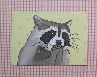 Excited raccoon postcard print