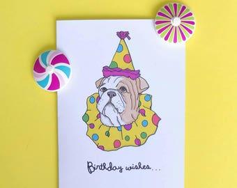 Clown dog Birthday card