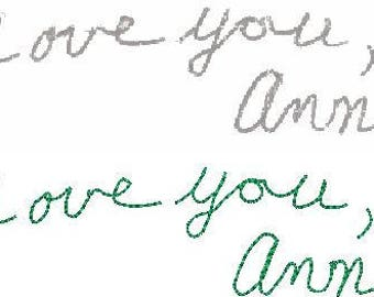 Especially for Michelle T. Original Handwriting for your embroidered gift. Persons Passed or Present carefully copied.