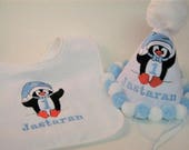 Personalized First Birthday Party Hat - TWO PIECE SET - Penguin - Rabbit Skins - Custom - Pom - Winter