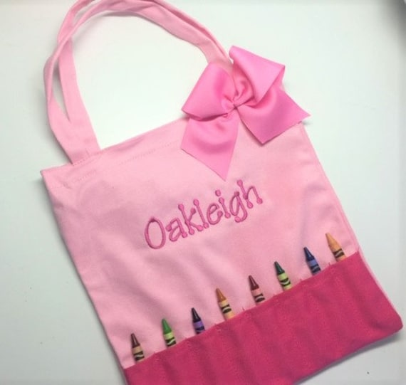 Personalized Kids Tote Bag Custom Great for Crayons and Books