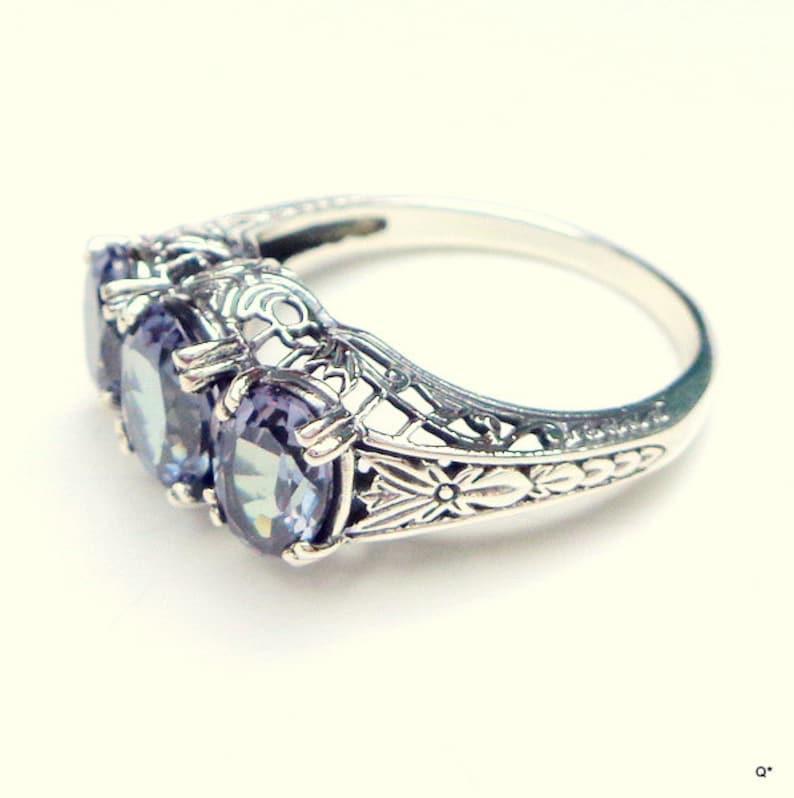 Victorian Design Lab,Russian Alexandrite,Vintage Sterling Silver,Filligree Setting,Color Change Stone,PurpleBlueTeal Edwardian Fantasy