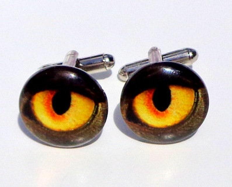 Unisex Cuff Links Edwardian Fantasy Pirate Gear Gothic Jewellry Steam Punk Goth Gold Eye Yellow Eye Balls