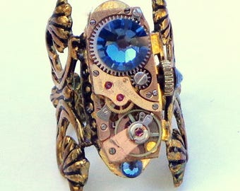 Working Movement, Steampunk Ring, Ruby Jeweled, Rose Gold Tone, Vintage Watch Movement, OOAK