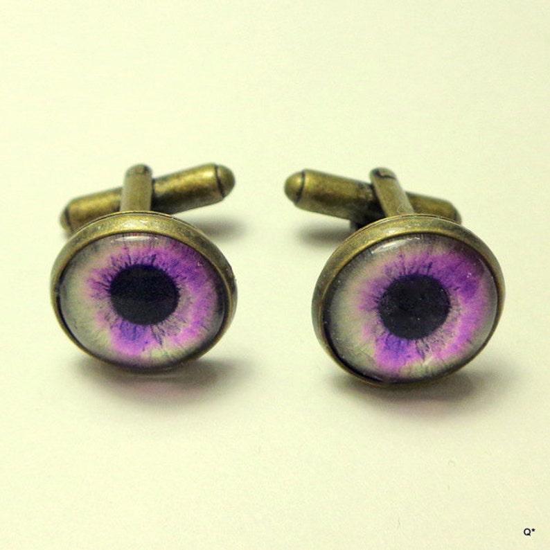 Edwardian Fantasy,Pirate Gear,Gothic Jewellry Steam Punk Goth SALE Purple Eye Balls Unisex Cuff Links Dragon/'s Eye