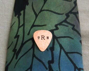 Custom MINI Guitar Pick TIE TACK, Copper Tie Pin, Personalized Mens Jewelry, Musician, Wedding Party, Pick Pin, Hubby Gift