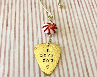 Guitar Pick Ornament, Candy Cane, PERSONALIZED Gift, Plectrum Gift, Christmas Ornament, Secret Santa, Stocking Stuffer, Tree Decoration