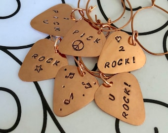 Guitar Pick WINE CHARMS, Custom Drink Charms, Make Your Own Set, Thanksgiving, Hostess Gift, Housewarming, 21st Birthday, Music Lover