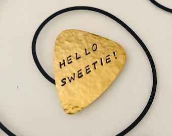 HELLO SWEETIE, Brass Guitar Pick, River Song, Doctor WHO, The Doctor, Time Lord, Useful Gift, Who Fandom, The Doctor's Wife,