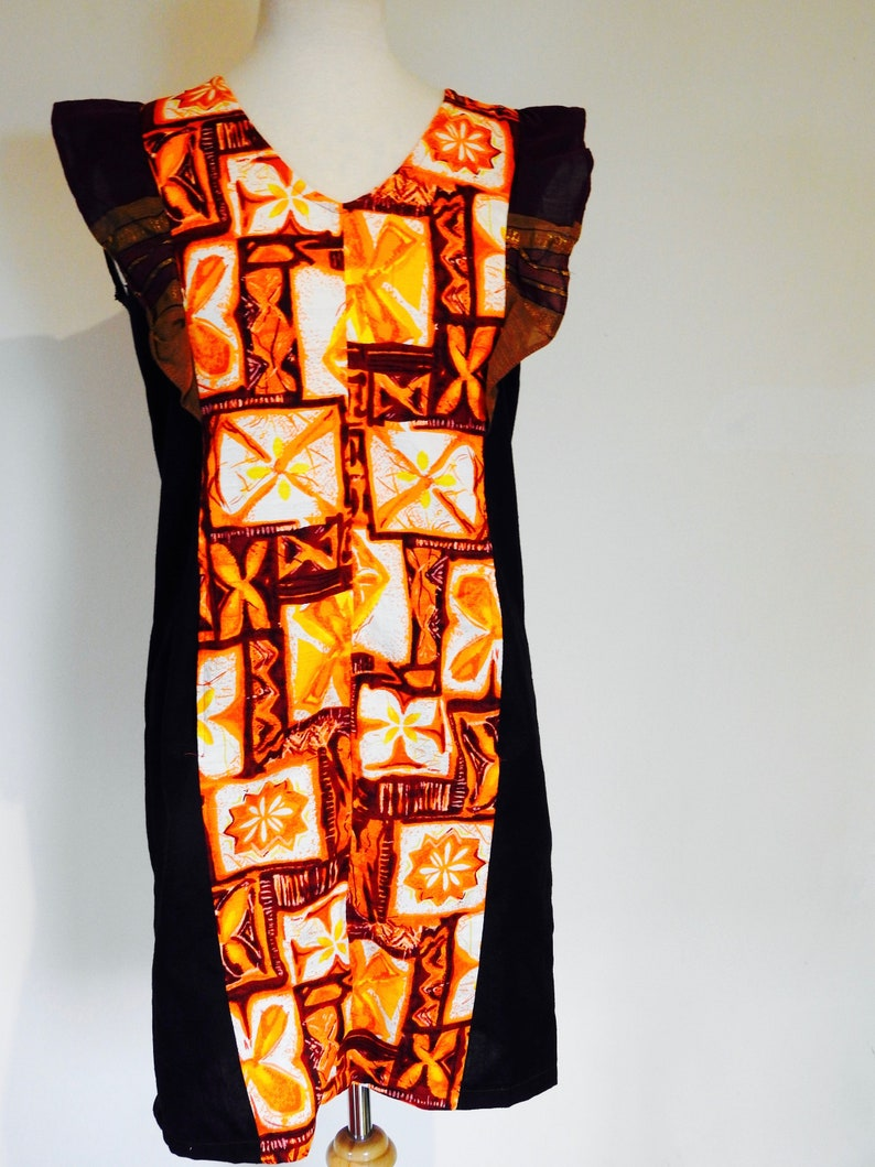 Barkcloth Mini Dress with Butterfly sleeves Vintage fabric one of a kind