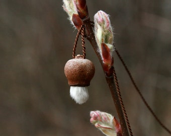 dainty necklace made of little pod and willow catkin - natural jewelry - pendant necklace - eco friendly