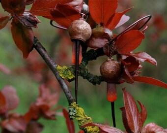 botanical jewelry - long dangle earrings with eucalyptus pods, sea urchin and hawthorns