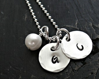 Sterling Silver Double Charm Necklace, Initial Necklace, Initial Charms, Personalized Necklace, Personalized Jewelry