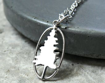 Sterling Silver Pine TREE NECKLACE, Silver Tree Necklace, Mountain Tree Necklace, Nature Necklace, Mountain Sceen Necklace