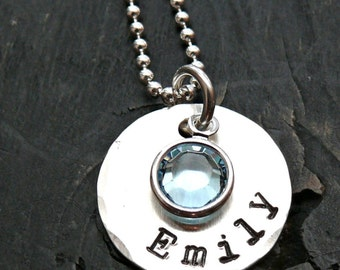 Personalized Necklace - Personalized Sterling Silver Necklace - Hand Stamped Necklace with Birthstone