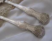 Kings Large Spoons - Silverware - 2 Stainless Steel Serving Spoons - Kings Pattern Reed Barton - MINT