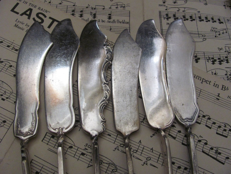 Couteaux lot de 6 Silver Plate Twisted Master Butter Knives - Modèles assortis (117)