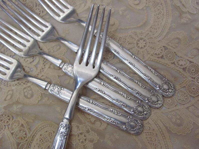 """WALLACE SILVER PLATE FLATWARE ROSEANNE 4 DINNER FORKS 7 1//2/"""""""
