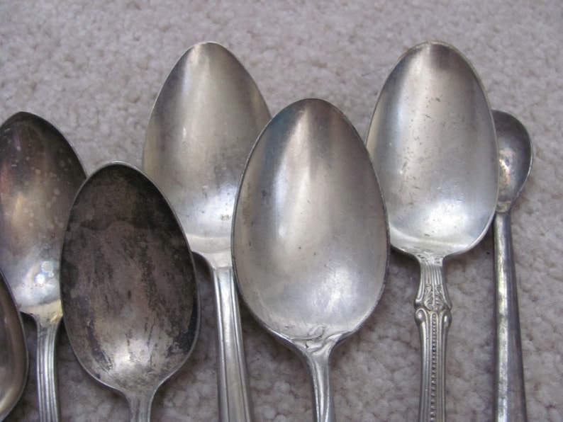 Hotel Stamped Silver Plate Large Serving Spoons and Others Lot of 9 Assorted Patterns
