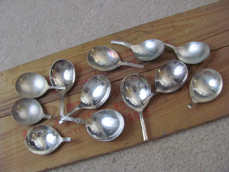 Lot of 12 Silver Plate Gumbo Soup Round Spoon Bowls Only No Handles