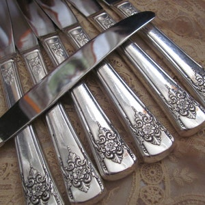 Set of 8 Silver Plate Hollow Handle Dinner Knives Trillia Pattern 1994 Trillia Knives