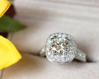 3 Stein Moissanite Verlobungsring Gelb Gold 3 Stein Ring Etsy