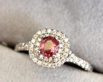 ee6bc0103 Double halo Sapphire engagement ring, RASPBERRY PADPARADSCHA Pink Sapphire  ring, pink sapphire, tiffany inspired